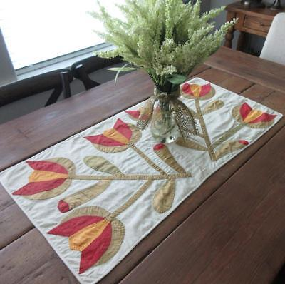 Antique Applique Red Cheddar & Green Tulip Table QUILT RUNNER 34x17