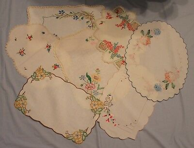 7 Large Vintage Embroidered Doilies