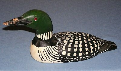 Wooden Duck Decoy Loon hand carved wood signed Bill Nelson 1992 vintage