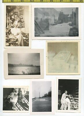 (16) Vintage photo lot / DOUBLE EXPOSURE - Parallel Worlds OLD SNAPSHOTS 1925-70