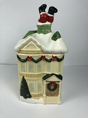 Homco 1990 Victorian House With Santa In Chimney Cookie Jar Candy Dish