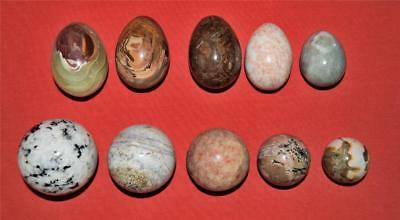 Polished Stone Spheres & Eggs Mixed Lot of 10 Various Sizes & Colors