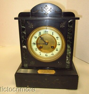 Cooke & Kelvey Clock France Slate & Marble British Colonial India Mantle Clock