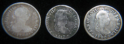 1786, 1817, & 1820 2 Reales Coins, From Lima And Mexico City - 3 Coin Lot