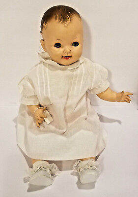 "Vintage 1950's Effanbee 23"" Baby Cuddle Up Doll w/ 2 Teeth ~ 2 Outfits ~"