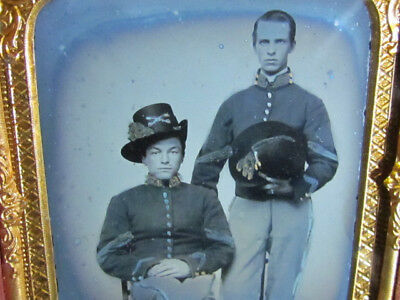 young Civil War cavalry soldier's wearing Hardee Hats ambrotype photograph