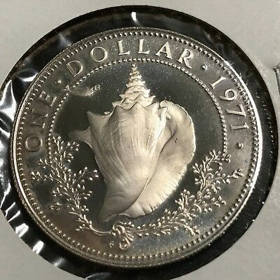 1971 Bahamas Silver $1 Conch Dollar Proof Brilliant Uncirculated