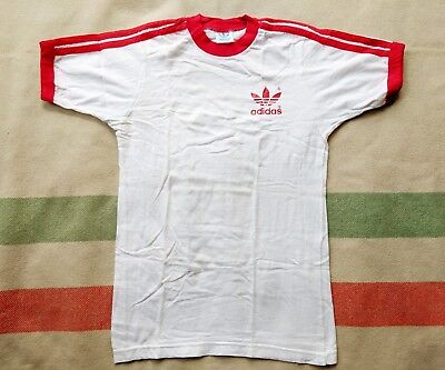 1970s or 1980s Adidas Ringer Tee XS S Small 70s 80s Trefoil Logo T Shirt Vintage