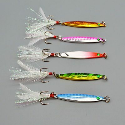 New 5pcs/lot Metal Bait Jig Fishing Lures 5cm/7g Baits Bass Tackle Feather Hooks