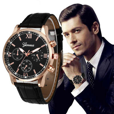 Business Geneva Men Leather Strap Stainless Steel Quartz Analog Wrist Watches