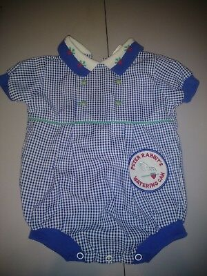 Vintage Peter Rabbit & Friends Baby Boys Blue Romper Watering Can Patch Usa 3M