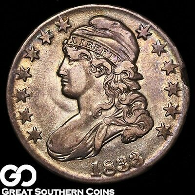 1833 Capped Bust Half Dollar, Nice Toning, Lustrous Choice AU ** Free Shipping!