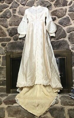 VINTAGE 70's CREAMY JULIET LACE Beaded BRIDAL WEDDING DRESS SIZE 7