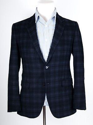 THEORY Navy Blue Plaid Cotton/Wool/Stretch Blend Dual-Vented Sportcoat 40
