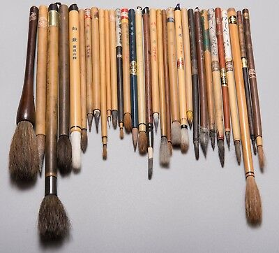 Vintage Shodo Fude Japanese and Chinese old painting brushes Calligraphy tools