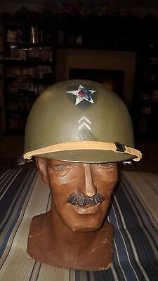 WWII Late WW2 US M1 Helmet Rear Seam Swivel Bale Stamped M311 with liner (11)