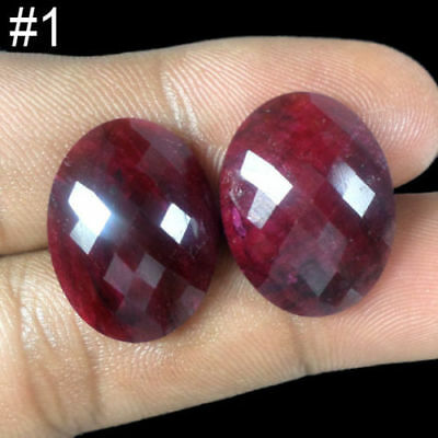 Natural Matched Exclusive Pair Oval Checker Cur Aaa Finest Quality Ruby Gemstone