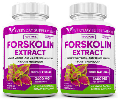 2 x Forskolin Maximum Strength 100% Pure 3400mg Rapid Results! Forskolin Extract