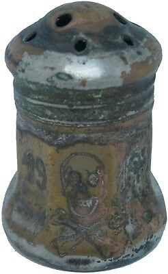Salt and pepper shaker 1917 Pot SKULL & Bones WWI Soldiers WW1 Trench Art