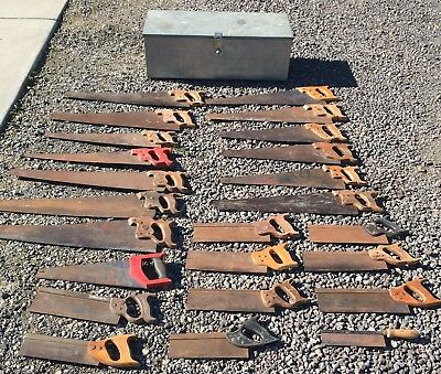 Hand Saws Tenon Saws Disston Spear & Jackson Others In Tool Box Bulk Lot of 24