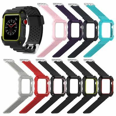 Silicone Wristband Loop Strap Band w/Case For Apple Watch iWatch Series 3/2/1