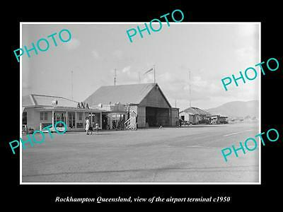 OLD LARGE HISTORIC PHOTO OF ROCKHAMPTON QUEENSLAND, THE AIRPORT TERMINAL c1950