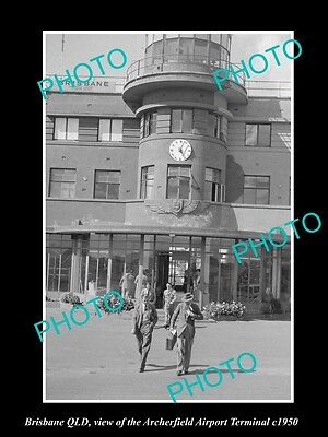 OLD LARGE HISTORIC PHOTO OF BRISBANE QLD, THE ARCHERFIELD AIRPORT TERMINAL c1950