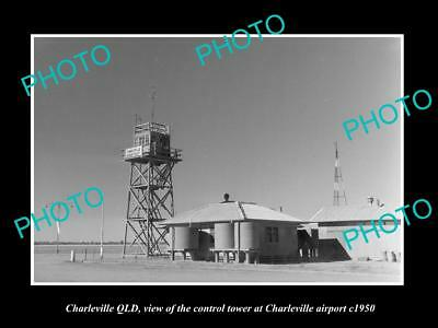 OLD LARGE HISTORIC PHOTO OF CHARLEVILLE QUEENSLAND, AIRPORT CONTROL TOWER c1950