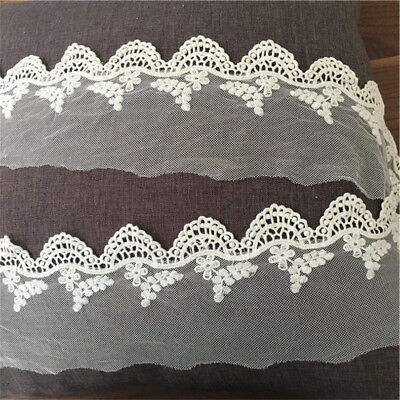 1yd White Gauze Embroidered Fabric Trim Edge Scalloped Lace Ribbon 3.93'' Width