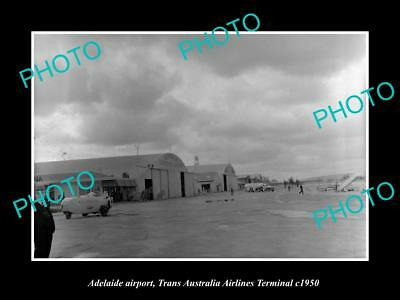 OLD LARGE HISTORIC PHOTO OF ADELAIDE AIRPORT, THE TAA AIRLINES TERMINAL c1950