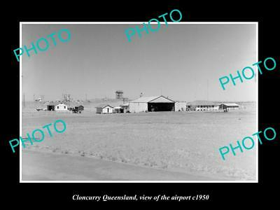 OLD LARGE HISTORIC PHOTO OF CLONCURRY QUEENSLAND, VIEW OF THE AIRPORT c1950