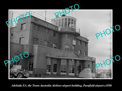 OLD LARGE HISTORIC PHOTO OF ADELAIDE, THE TAA AIRLINES TERMINAL, PARAFIELD c1950