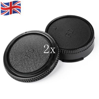 2 Pair Rear Lens Cap + Front Body Cover Protector for Canon FD Camera UK STOCK