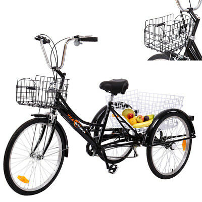 "24 ""Adulte avec panier Trike Tricycle Noir Bike Bicycle Tricycles 6 vitesses"