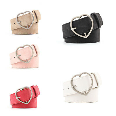 Ladies Women Heart Buckle Belt Dress Jeans Faux Leather Waistband UK Stock New
