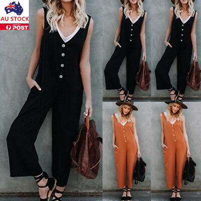 Women V Neck Strappy Jumpsuit Wide Leg Ladies  Button Holiday Playsuit Overalls