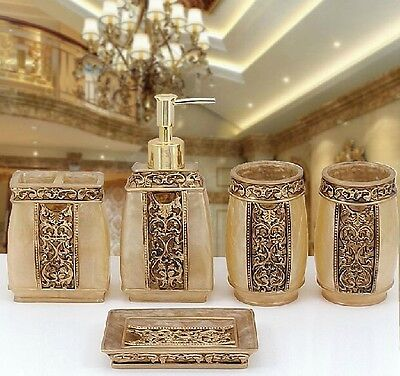 Bathroom Accessories Set 5Pc Rome Aristocracy Bath Resin Cup Toothbrush Holder -
