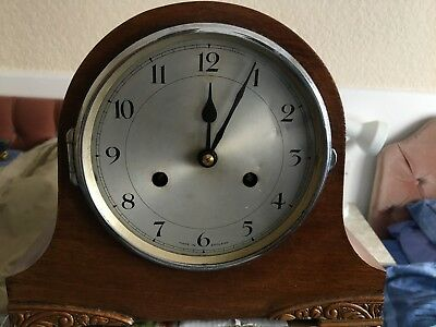 Mantel wind up clock antique very old spares or repairs no front glass
