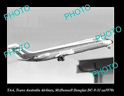 OLD LARGE HISTORIC PHOTO OF TAA AVIATION, McDONNELL DOUGLAS DC-9 C1970s
