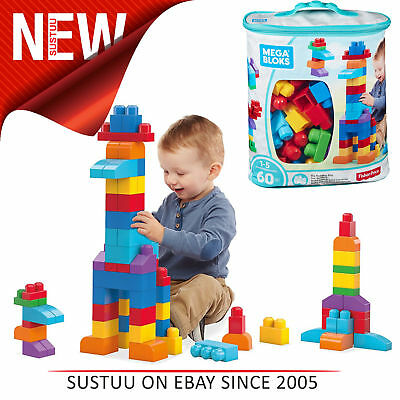 Mega Bloks Building Bag 60pcs Blue Blocks Pre School