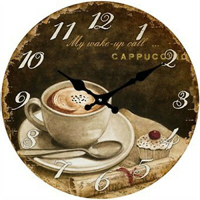 Coffee Cappuncino Glass Wall Clock 30cm perfect gift Kitchen or Cafe accessory