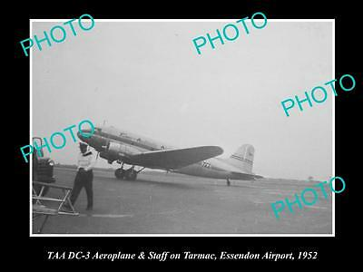 Old Large Historical Photo Of Taa Airlines Dc-3 Plane At Essendon Airport 1952
