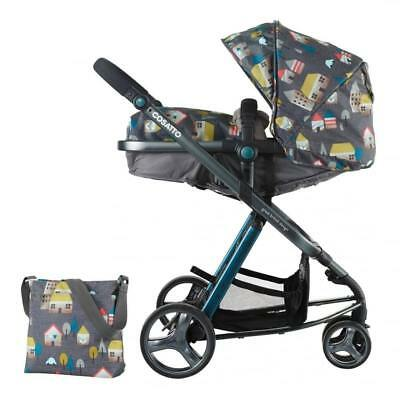 New Cosatto woop 2 in 1 pram & pushchair Hygge houses with footmuff bag & pvc