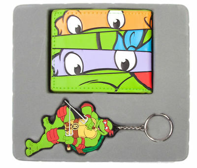 Teenage Mutant Ninja Turtles (TMNT) Masks Bi-Fold Wallet & Raph Keychain Giftset