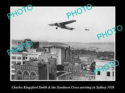 Old Historic Photo Kingsford Smith Arriving On The Southern Cross, 1928 Sydney