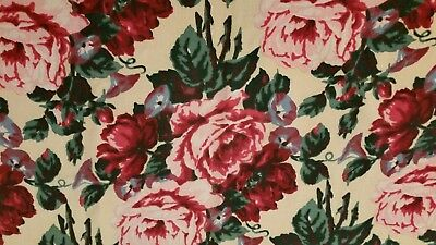 """Beautiful Barkcloth Style Fabric Vibrant Colors 2 Pieces 34""""x30""""Floral Print"""