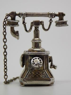 Vintage Solid Sterling Silver 925 Telephone Figurine, Miniature, Stamped
