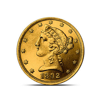 $5 Liberty Half Eagle Gold Coin - About Uncirculated (AU) - Random Dates/Years