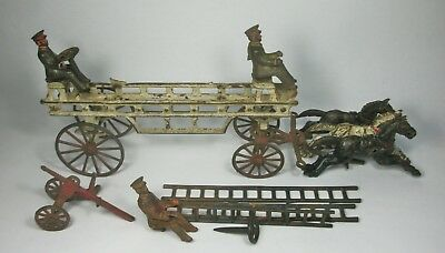 w Antique Cast Iron Horse Drawn Fire Truck 3 horses w/ wagon 3 drivers parts lot