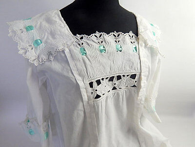 Vintage French Handmade Nightgown in Very Fine Cotton Romantic with Embroidery